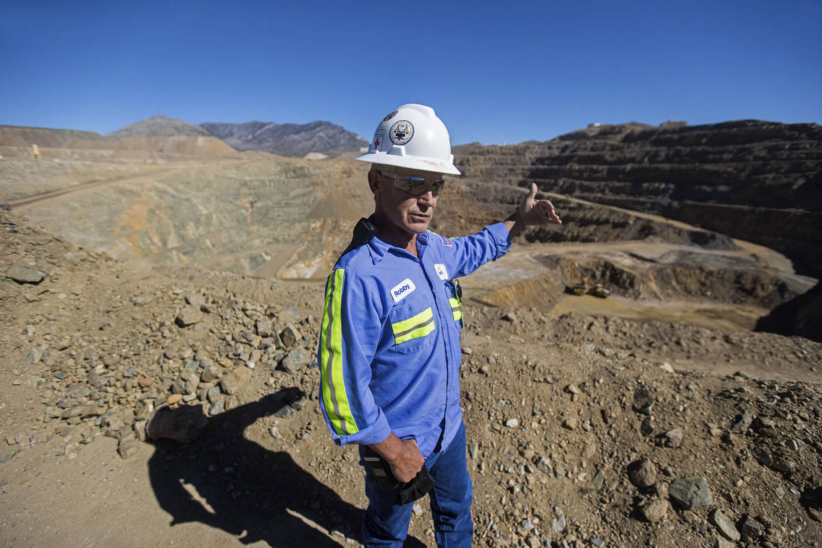 Robby Ruesch, manager of mining and delivery for Las Vegas-based company MP Materials, points o ...
