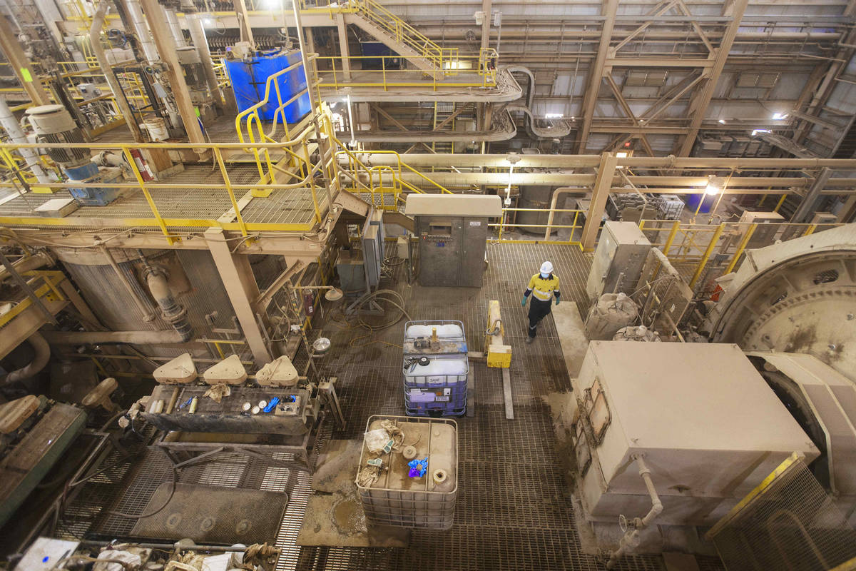 A worker with Las Vegas-based company MP Materials supervises the mill at Mountain Pass Rare Ea ...