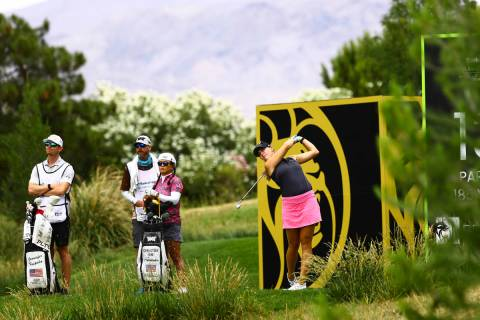 Jennifer Kupcho tees off at the 13th hole during the first round of the Bank of Hope LPGA Match ...