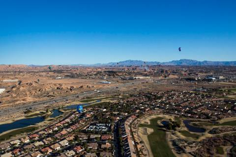 This Jan. 26, 2018, photo shows an aerial view of Mesquite. (Las Vegas Review-Journal, File)