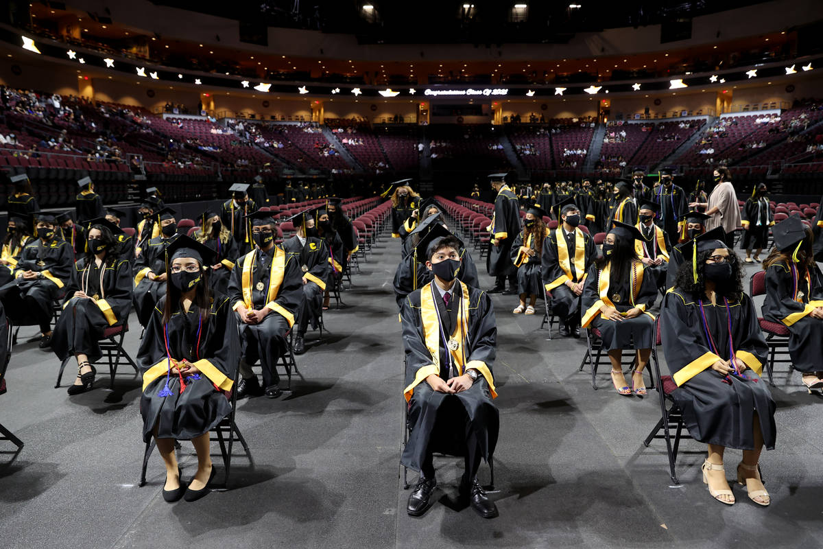 Clark High School students, front row from left, Alaysha Fuentes, Nathanael Altamirano and Guad ...