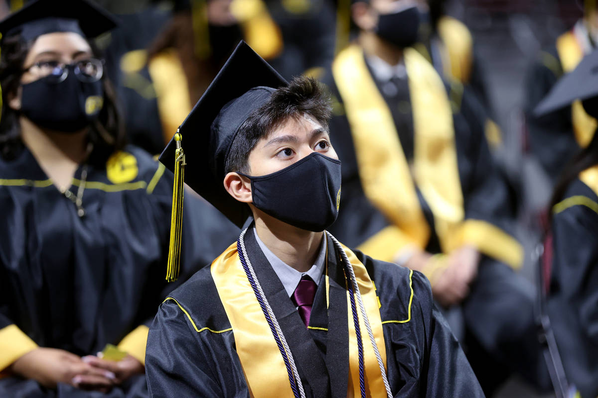 Clark High School student Nathanael Altamirano during a graduation ceremony at the Orleans Aren ...
