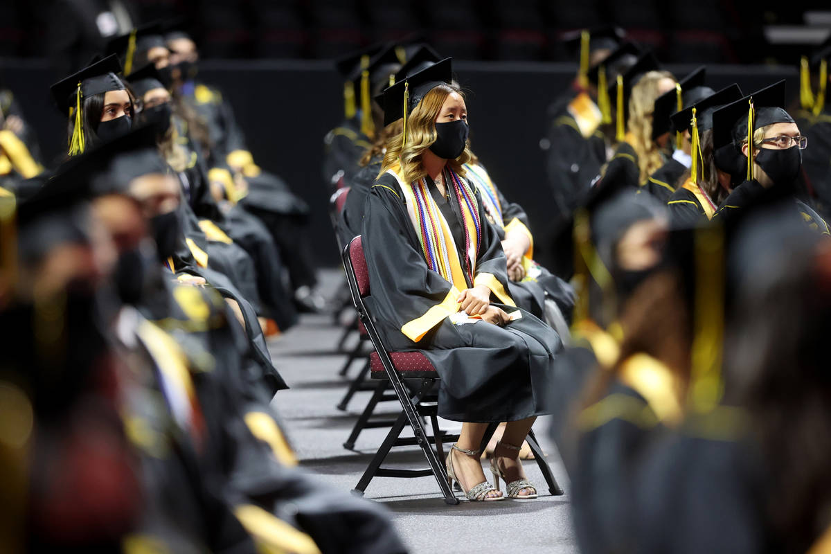 Clark High School students during a graduation ceremony at the Orleans Arena in Las Vegas Thurs ...