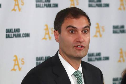Oakland Athletics President Dave Kaval speaks during a news conference in Oakland, Calif., in 2 ...