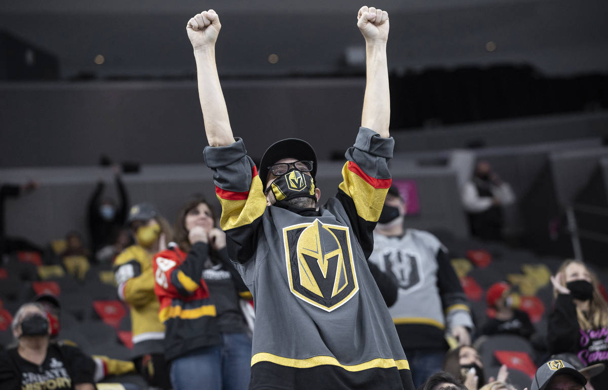 Henderson Silver Knights fans cheer after a goal in the second period during game 2 of the Paci ...