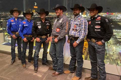 Rodeo champs, from left, Stetson Wright, Ryder Wright, Jacob Elder, Paul Reaves and Shad Mayfie ...