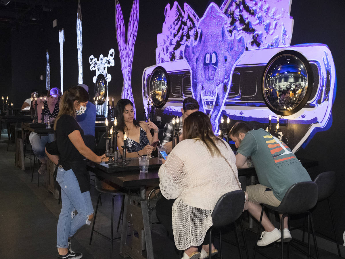 Customers enjoy their meal at The Beast by Todd English, Area15 food hall, on Wednesday, May 26 ...