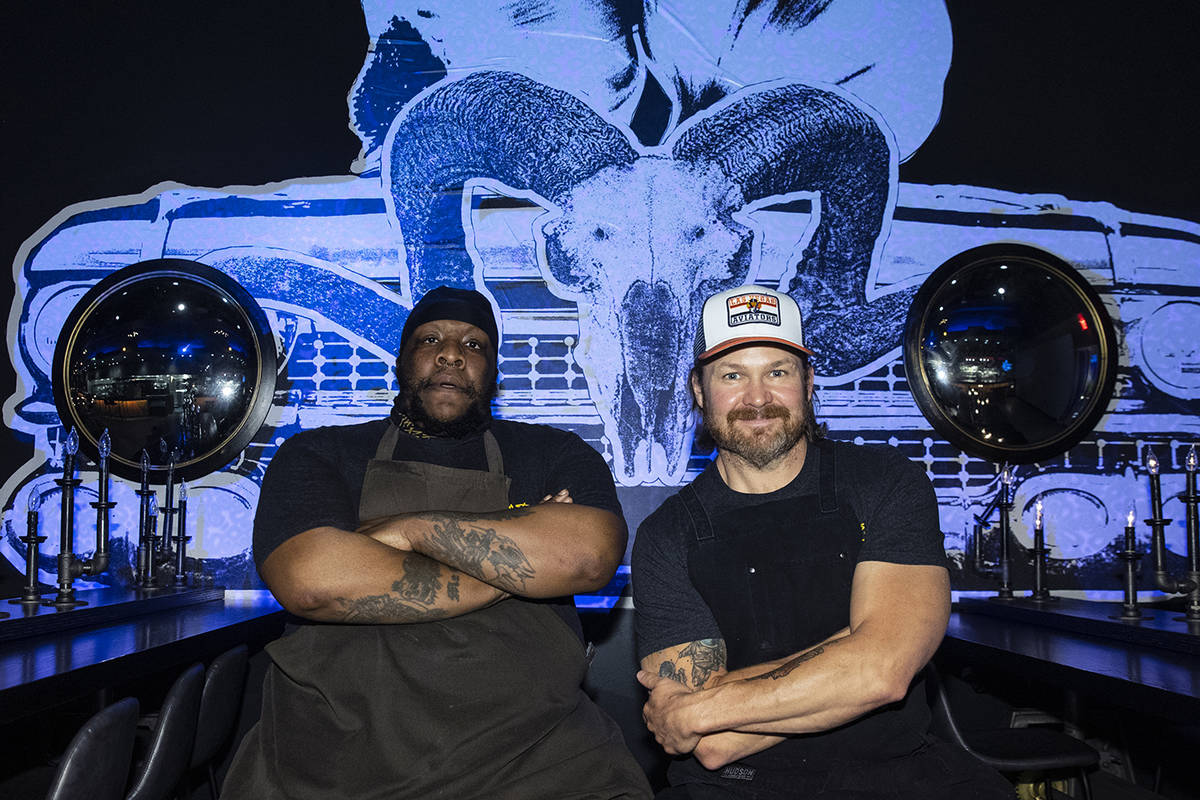 Orelle Young, left, and Joe Woodel, both BBQ pitmasters, pose for a photo at the Beast by Todd ...