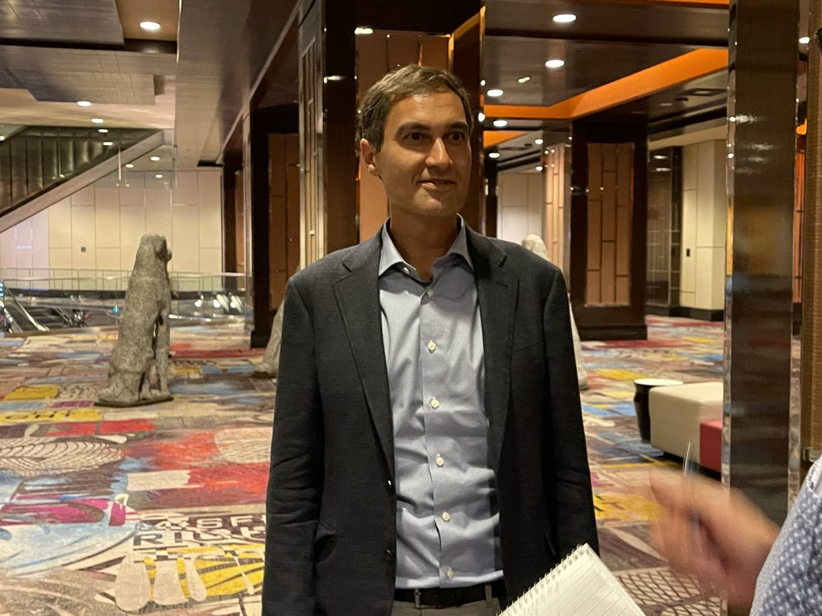 Oakland Athletics' President Dave Kaval speaks with Las Vegas Review-Journal reporters Thursday ...