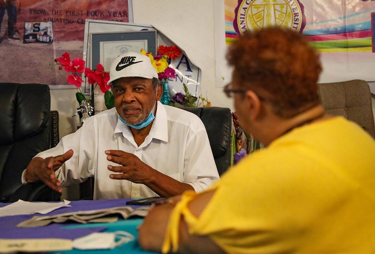 Former Nevada Assemblyman Harvey Munford speaks to the Review-Journal and Dee Evans, president ...