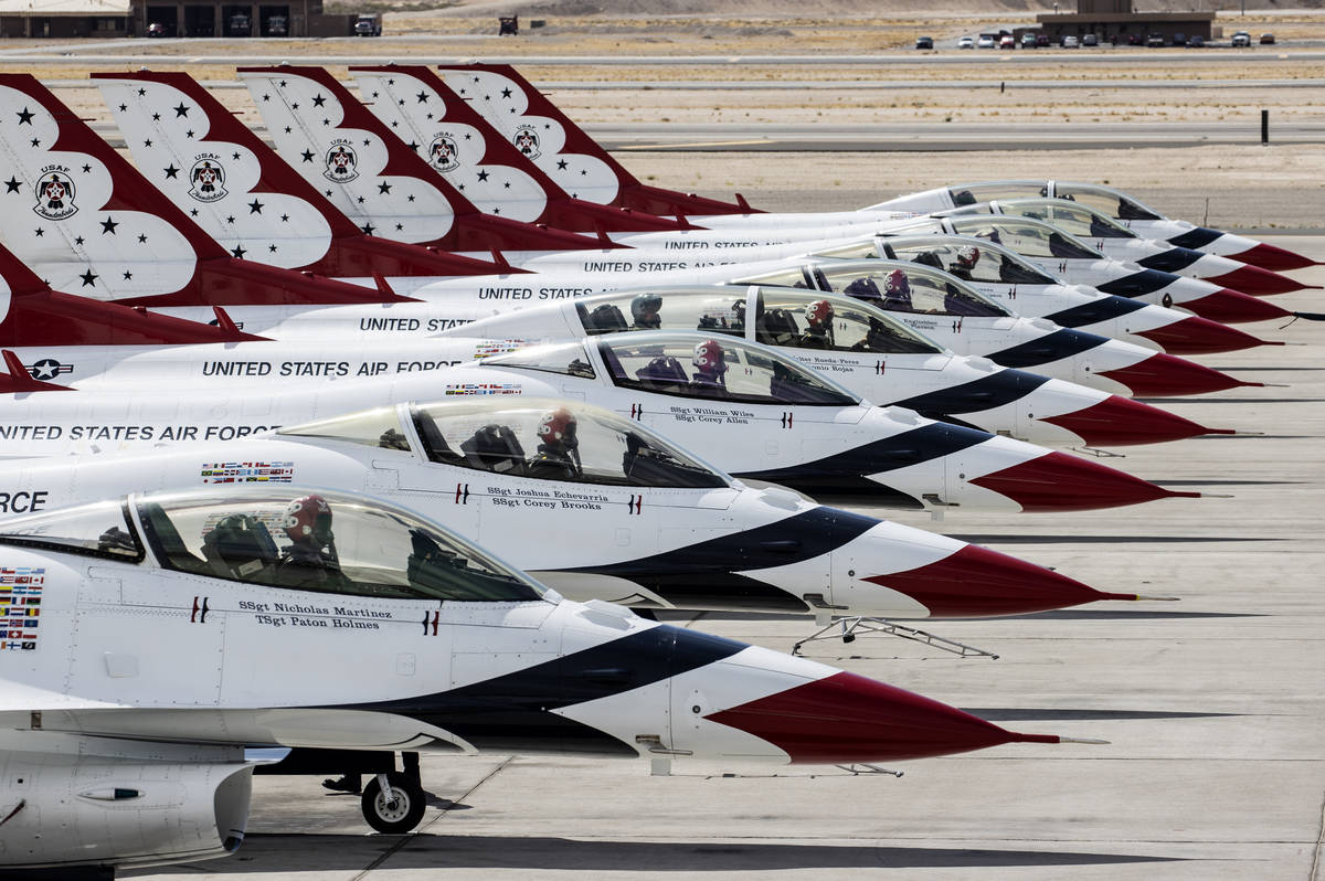 The U.S. Air Force Thunderbirds lined up as they prepare to take off from Nellis Air Force Base ...