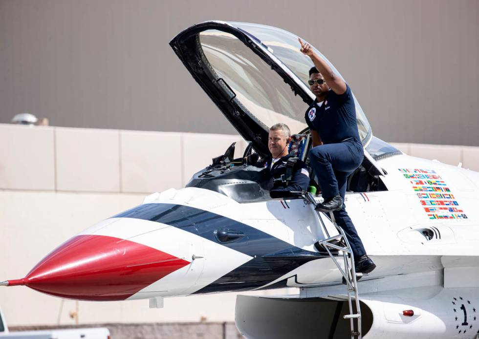 Col. John Caldwell, the commander/leader of the Thunderbirds, prepares to take off from Nellis ...