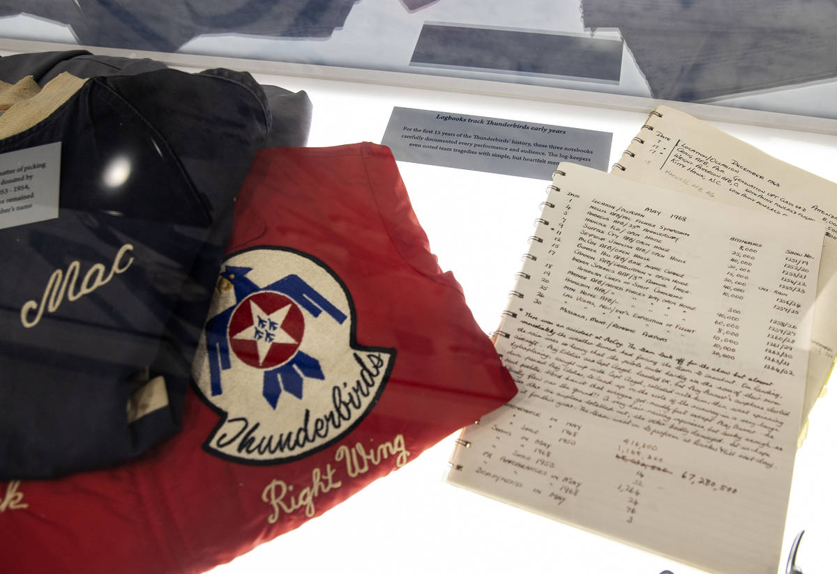 Thunderbirds pilots uniforms and flights logbooks are displayed at the Thunderbirds Museum at N ...