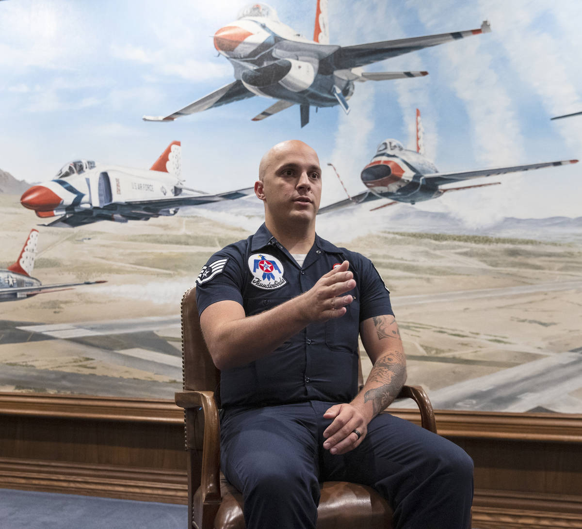 Staff Sgt. Matthew Tolle films the Thunderbirds. (Bizuayehu Tesfaye/Las Vegas Review-Journal) @ ...