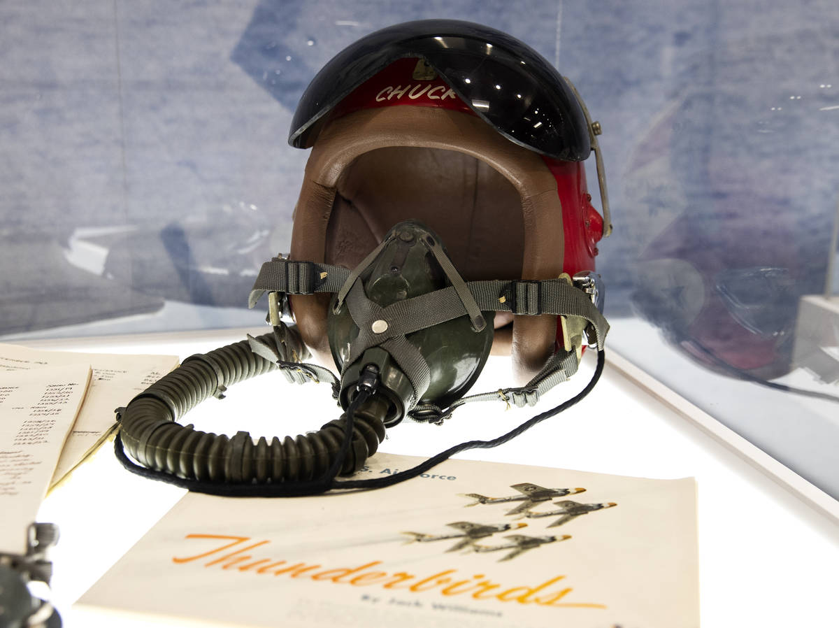 A Thunderbird pilot helmet is displayed at the Thunderbirds Museum at Nellis Air Force Base in ...