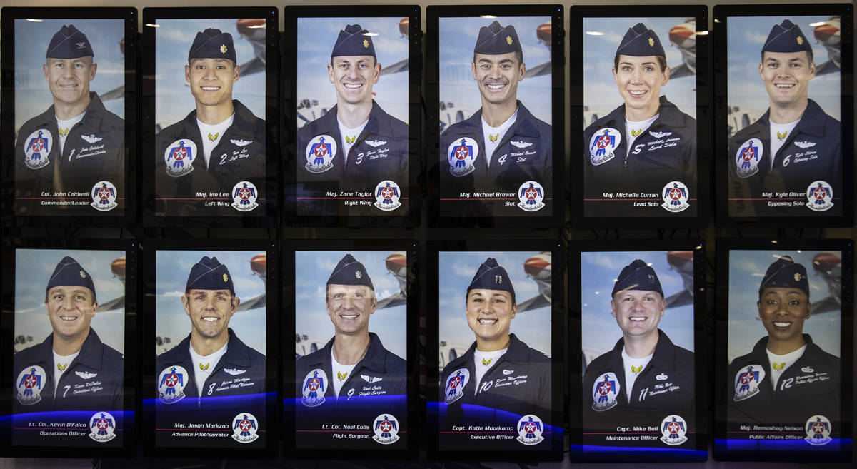 Past and present Thunderbirds officers' photographs are displayed at the Thunderbirds Mu ...