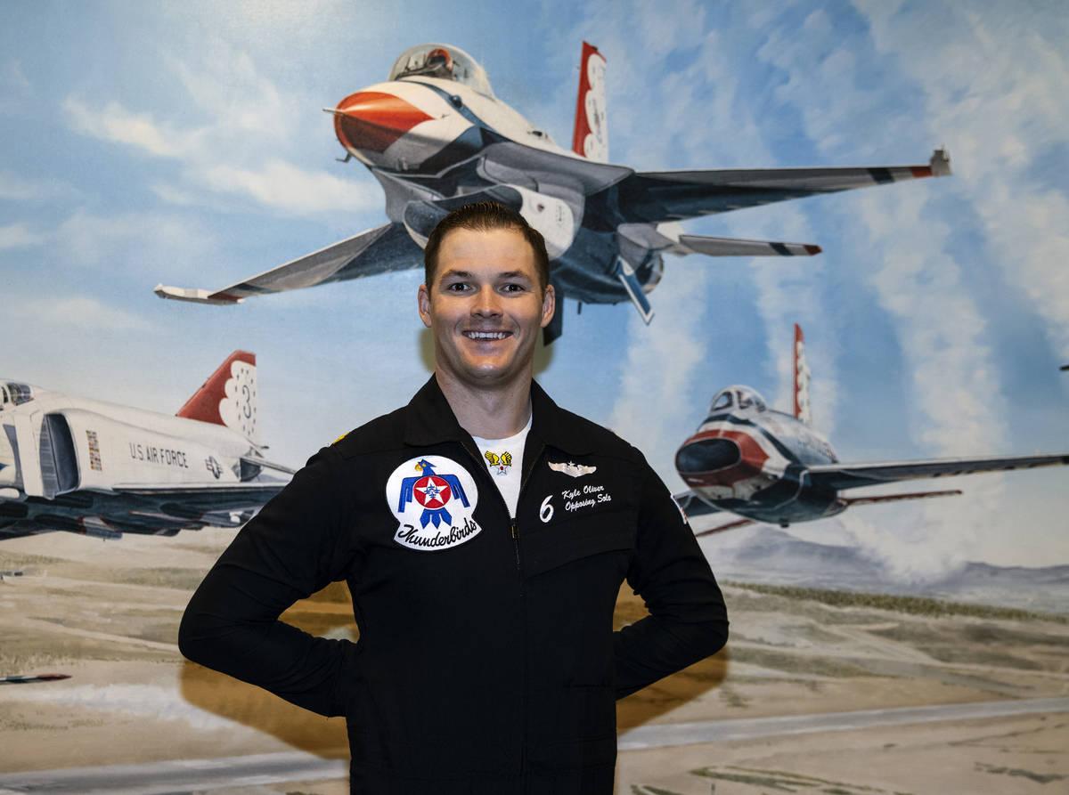 Maj. Kyle Oliver is the Thunderbirds 6-opposing solo pilot. (Bizuayehu Tesfaye/Las Vegas Review ...