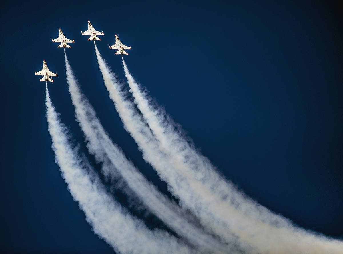 The U.S. Air Force Thunderbirds in their performance during the Aviation Nation at Nellis Air F ...