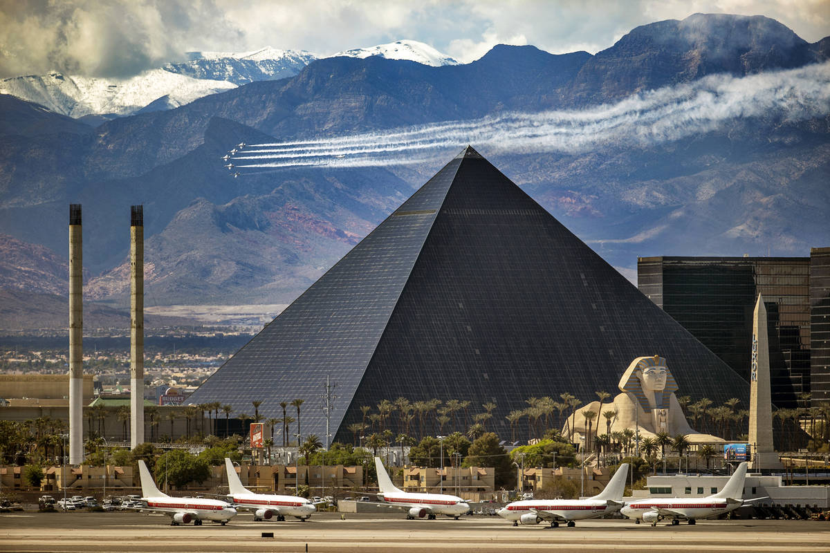The Thunderbirds fly near the Las Vegas Strip, close to the Luxor, in honor of frontline COVID- ...