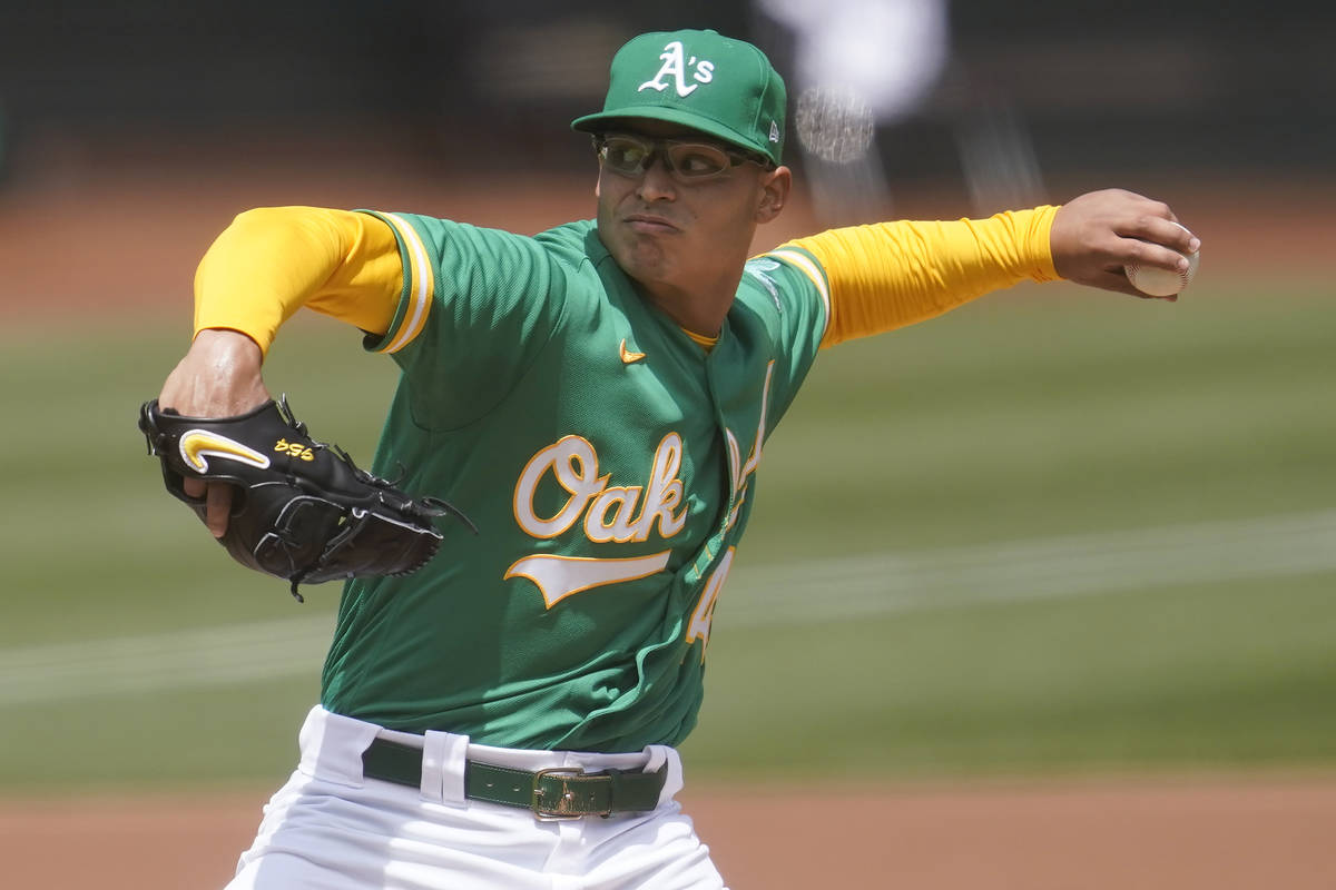 Oakland Athletics' Jesus Luzardo pitches against the Baltimore Orioles during a baseball game i ...