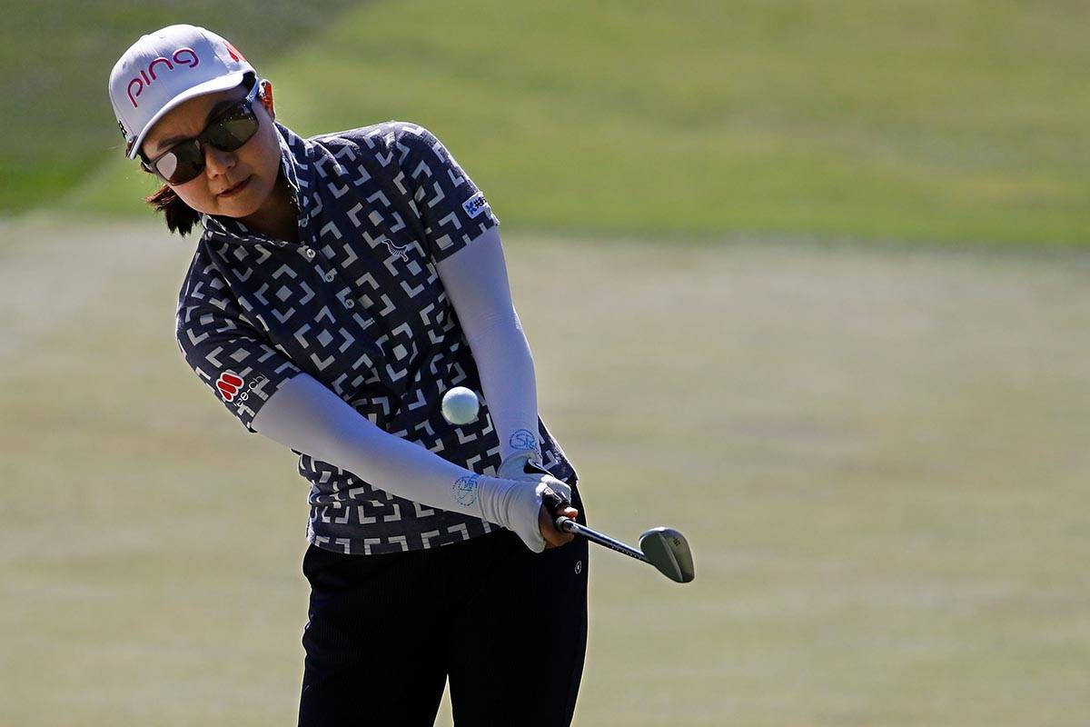 Ayako Uehara of Japan chips onto the first green during the third round of the Bank of Hope LPG ...