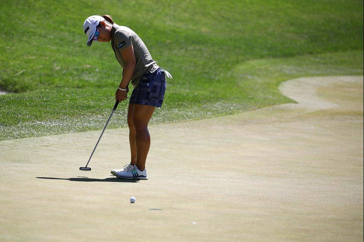Nasa Hataoka of Japan putts on the first green during the third round of the Bank of Hope LPGA ...