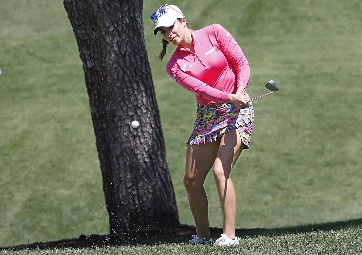 Gaby Lopez of Mexico chips onto the second green during the third round of the Bank of Hope LPG ...