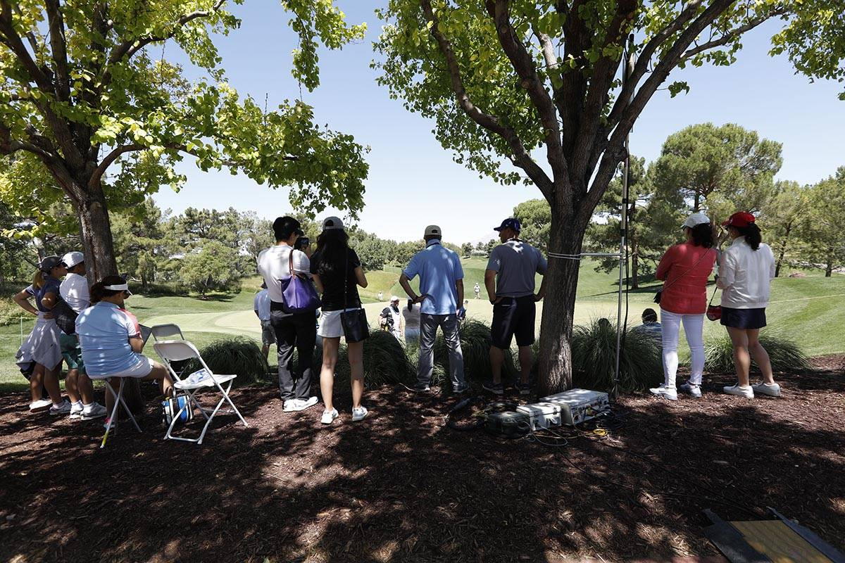 The gallery stays under the trees to avoid the strong sun during the third round of the Bank of ...
