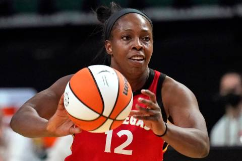 Las Vegas Aces' Chelsea Gray in action against the Seattle Storm during WNBA basketball game Sa ...