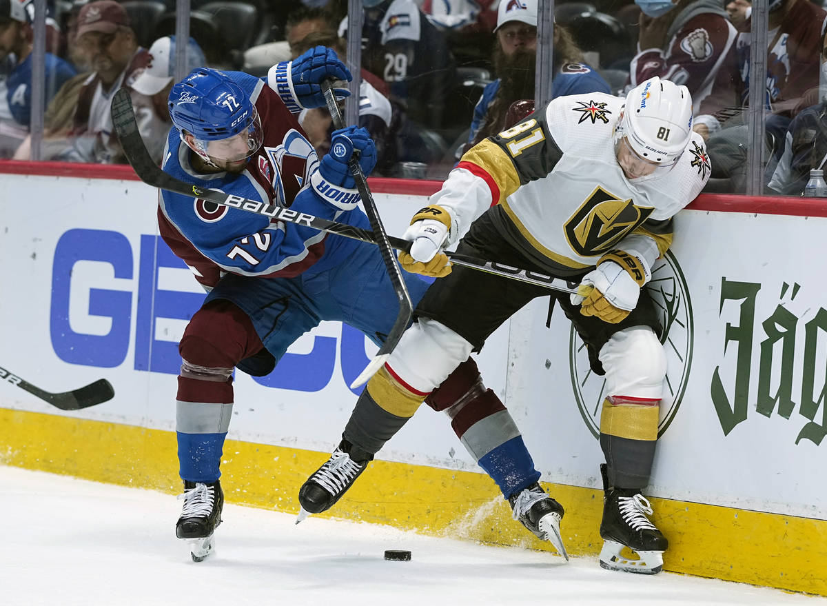Colorado Avalanche right wing Joonas Donskoi (72) and Vegas Golden Knights center Jonathan Marc ...