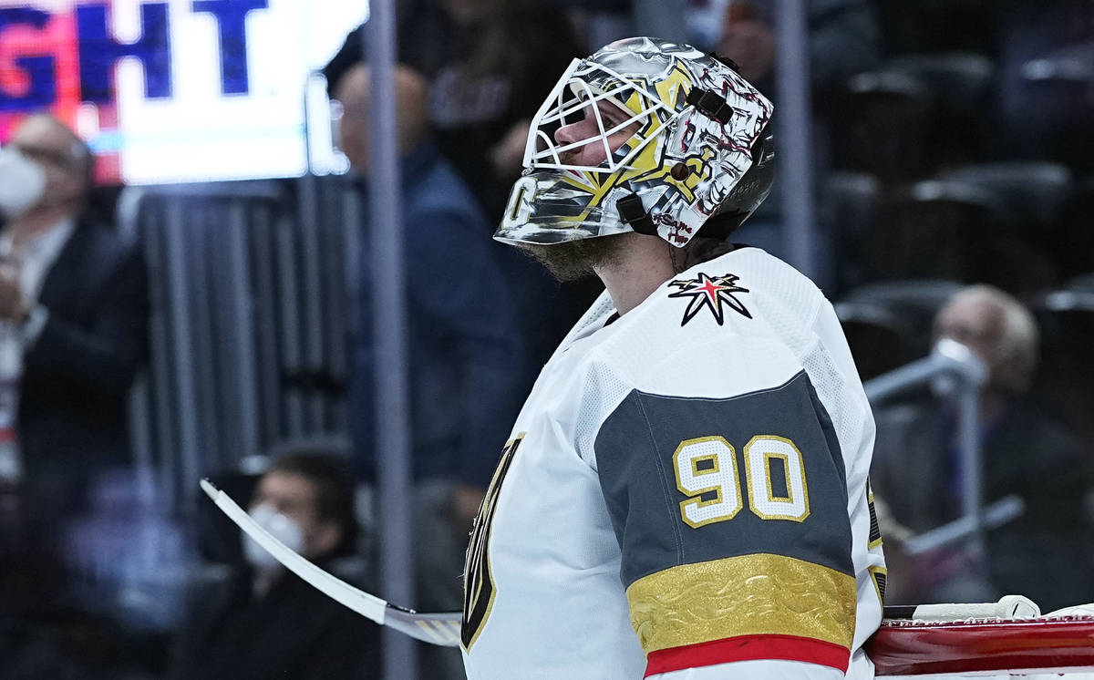 Vegas Golden Knights goaltender Robin Lehner (90) looks on after giving up a goal to the Colora ...