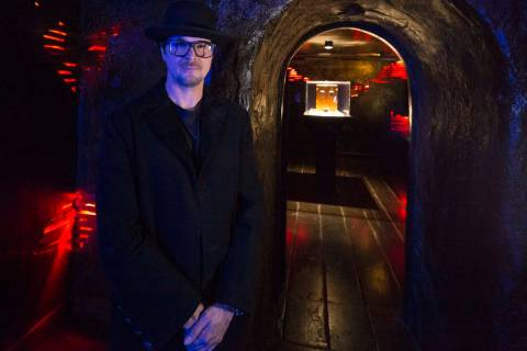 Ghost hunter Zak Bagans poses outside the room holding his Dybbuk Box, known as the world's mos ...