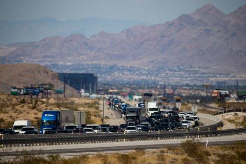Traffic is backed up as motorists travel southbound on Interstate 15, seen north of Jean, on Mo ...