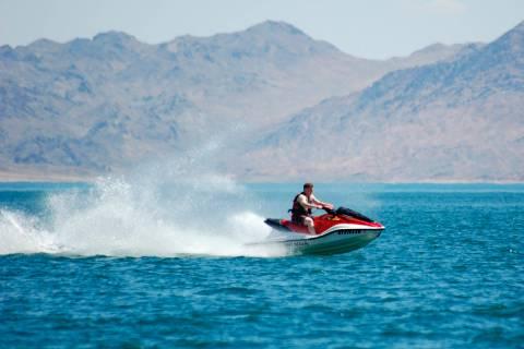 A jet skier zips across Lake Mead. (Las Vegas Review-Journal)