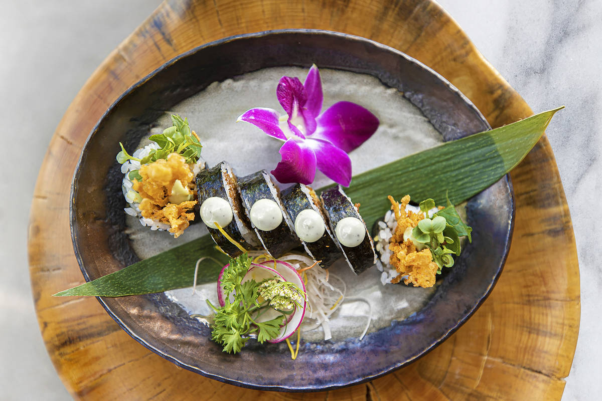 Chikyu's plant-based Buckhorn Roll features bean curd and tempura-fried mushrooms. (Benjamin ...