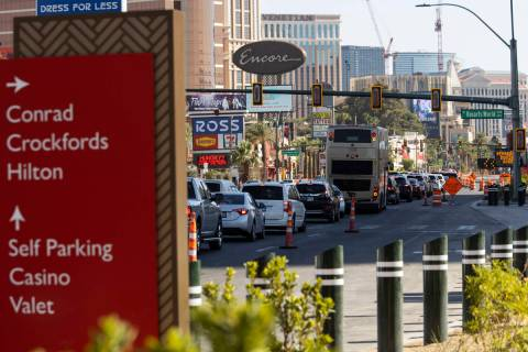 Signage for the Resorts World Las Vegas under construction is seen on Monday, June 21, 2021 in ...