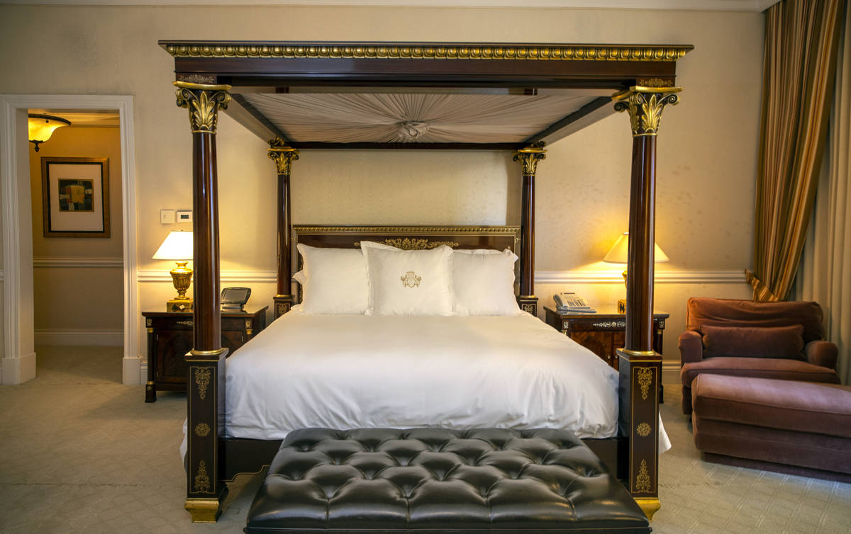 A bedroom within one of the Palazzo Suites may be updated, shown during a tour of the Rio with ...
