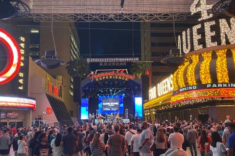 Veteran Vegas party band Zowie Bowie performs on the Fremont Street Experience's 3rd Street Sta ...