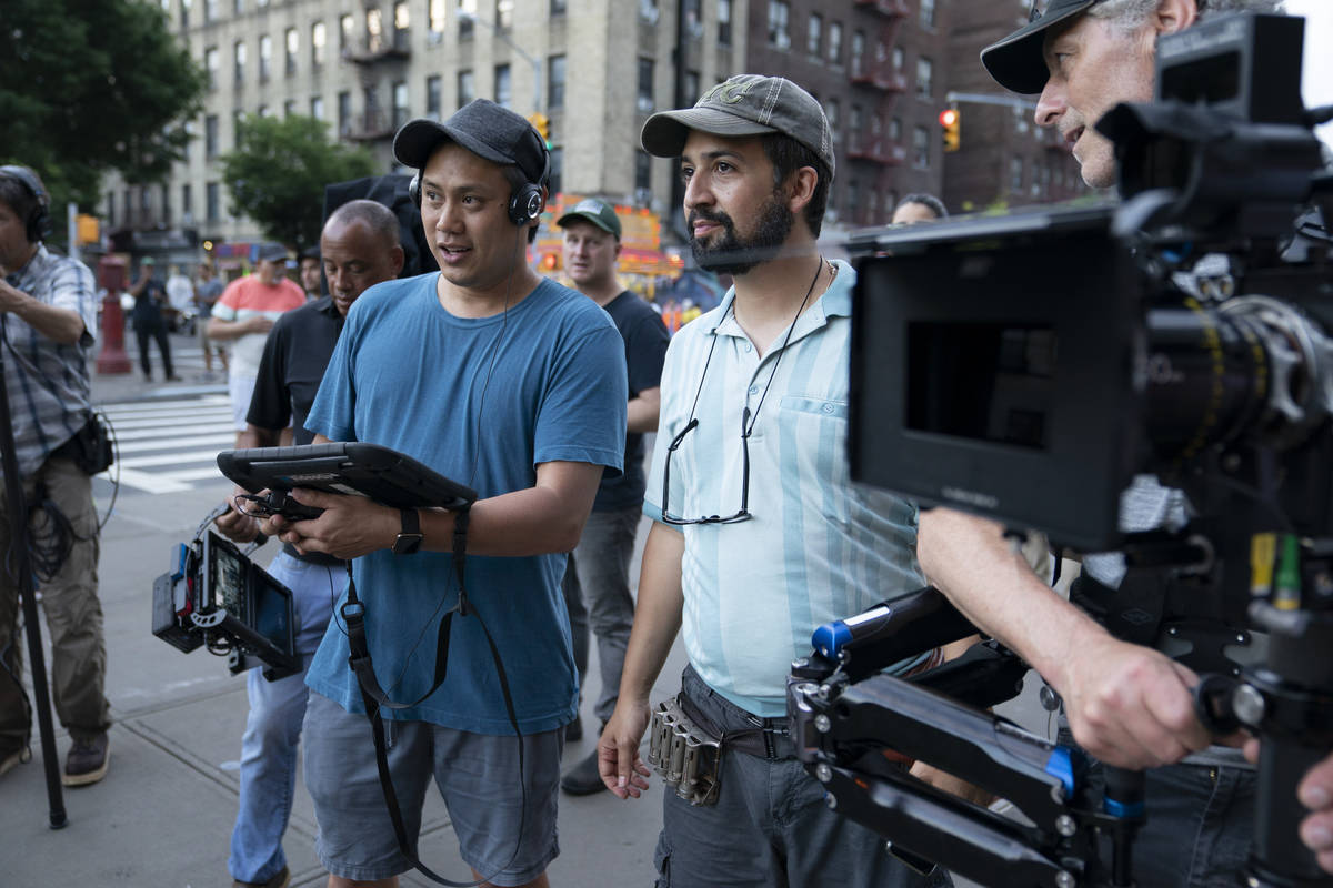 """""""In The Heights"""" director Jon M. Chu, left, and concept/music and lyrics/producer Lin-Manuel Mi ..."""