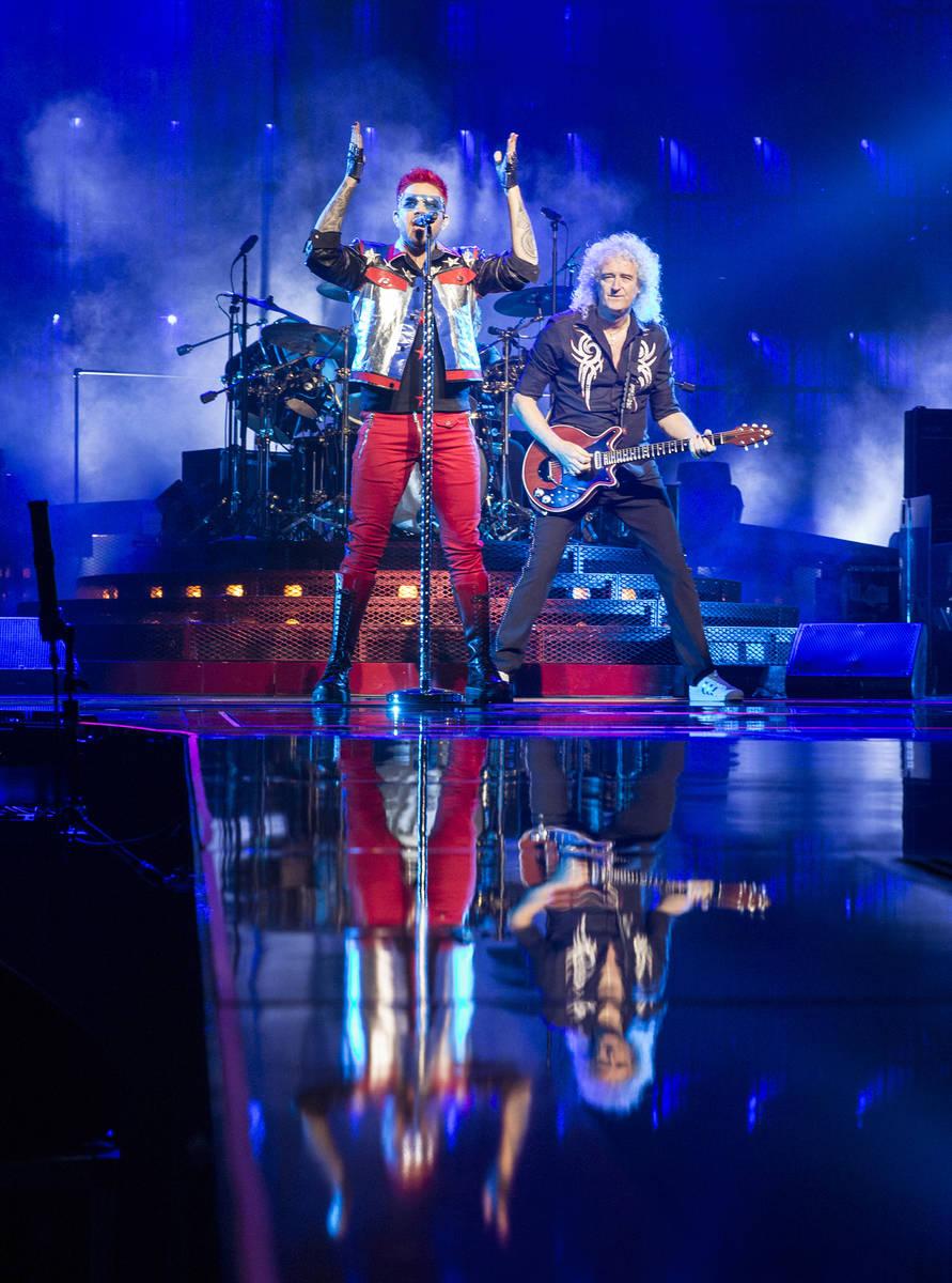 Adam Lambert, left, and Queen guitarist Brian May perform on Saturday, June 24, 2017, at T-Mob ...