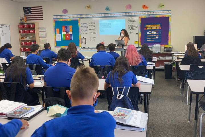 Students attend class at Wallace Stegner Academy's Salt Lake City campus. The public charter sc ...