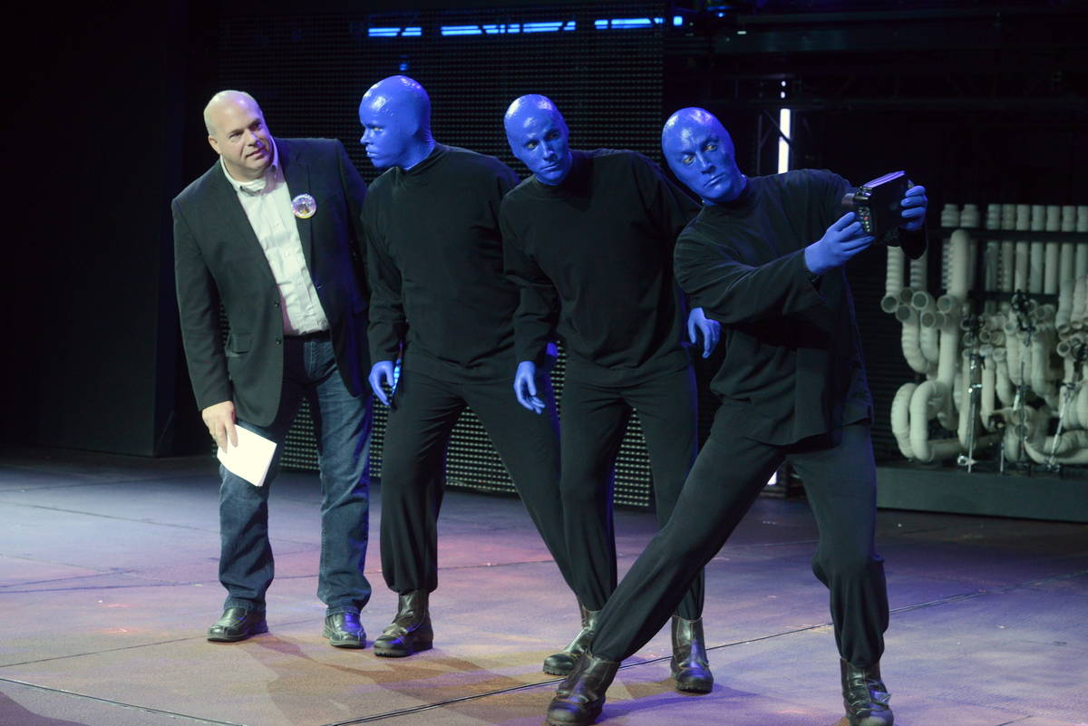Jack Kenn is shown with Blue Man Group at the Luxor in this undated photo.