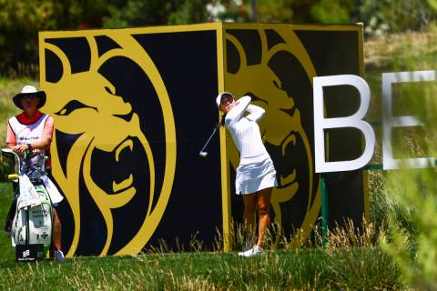 Danielle Kang tees off at the 13th hole during the second round of the Bank of Hope LPGA Match ...