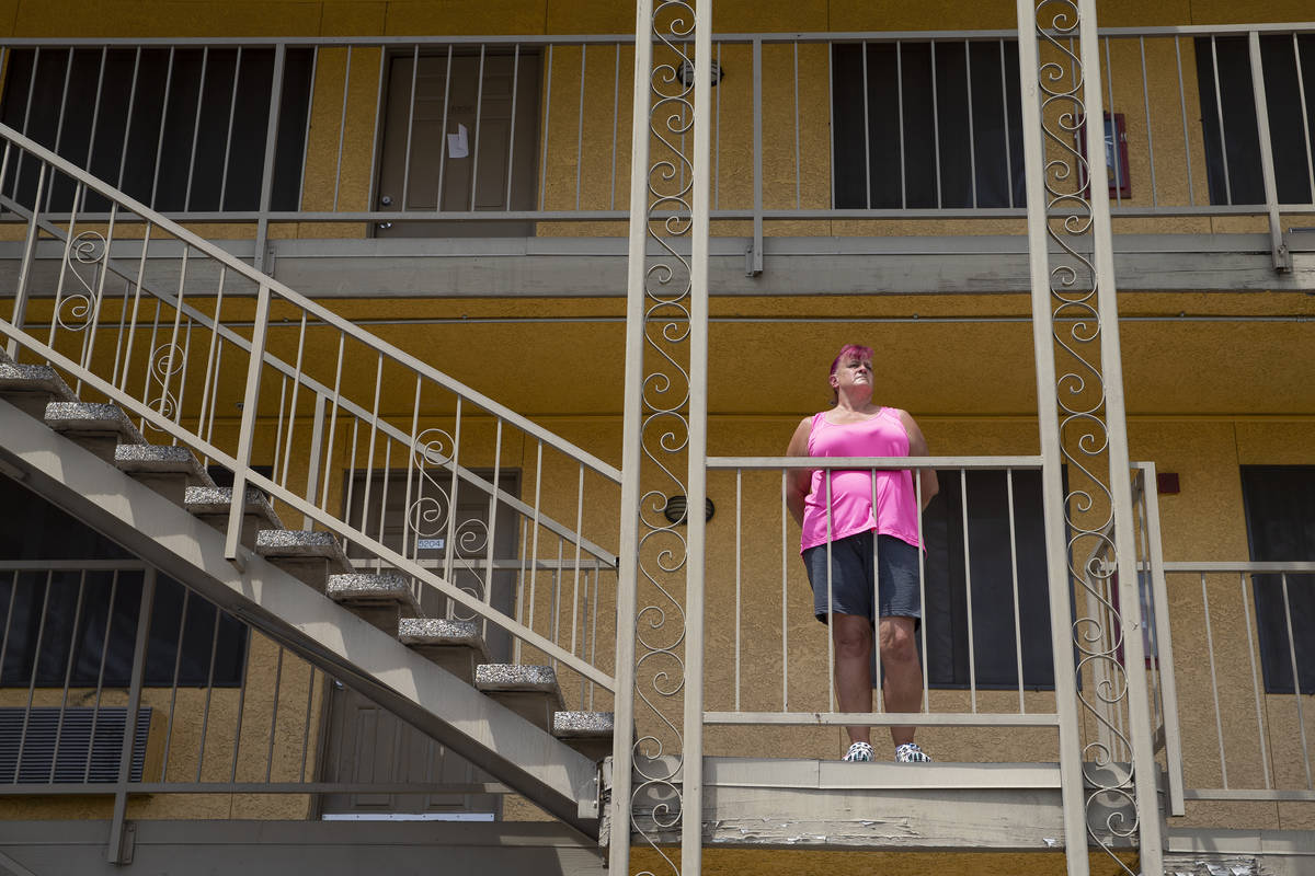 Nancy Williams outside her Siegel Suites apartment on Tuesday, June 15, 2021, in Las Vegas. Wil ...