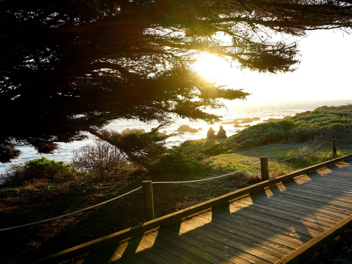 Cambria's boardwalk offers stunning views of the Pacific Coast and has several access points ...
