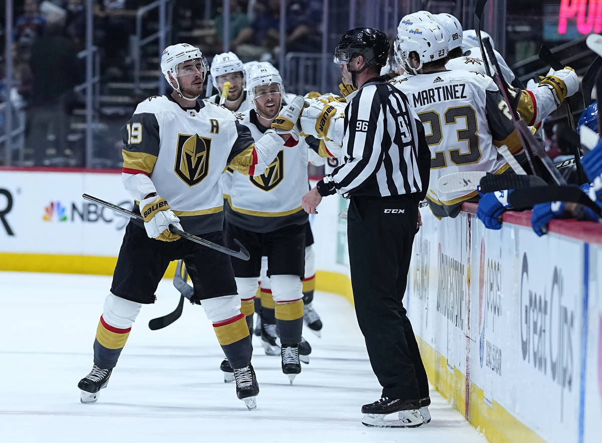 Vegas Golden Knights right wing Reilly Smith (19) celebrates a goal against the Colorado Avalan ...