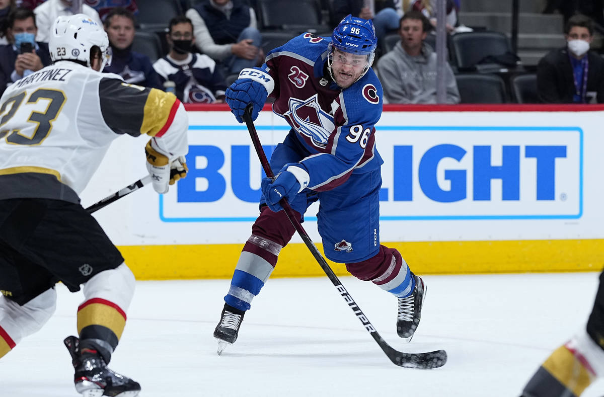 Colorado Avalanche right wing Mikko Rantanen (96) shoots against the Vegas Golden Knights durin ...