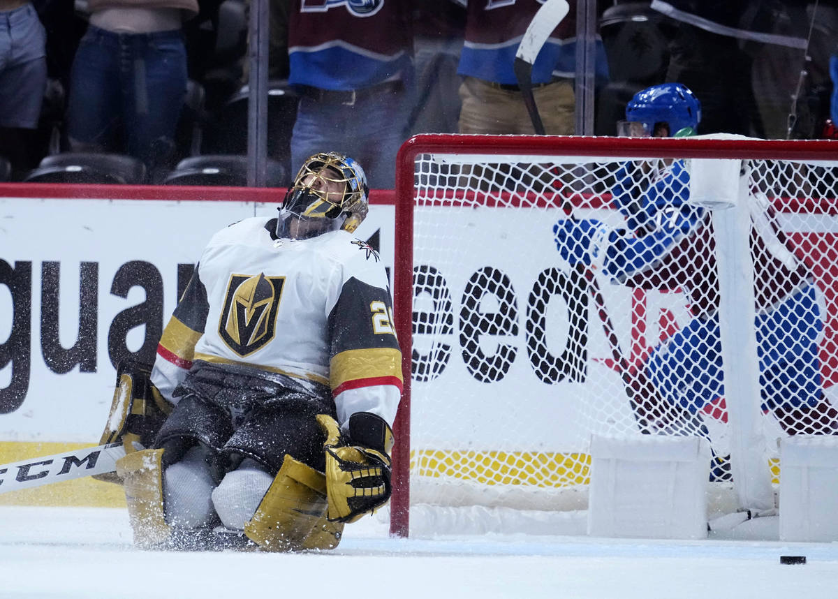 Vegas Golden Knights goaltender Marc-Andre Fleury (29) reacts to giving up a goal to the Colora ...