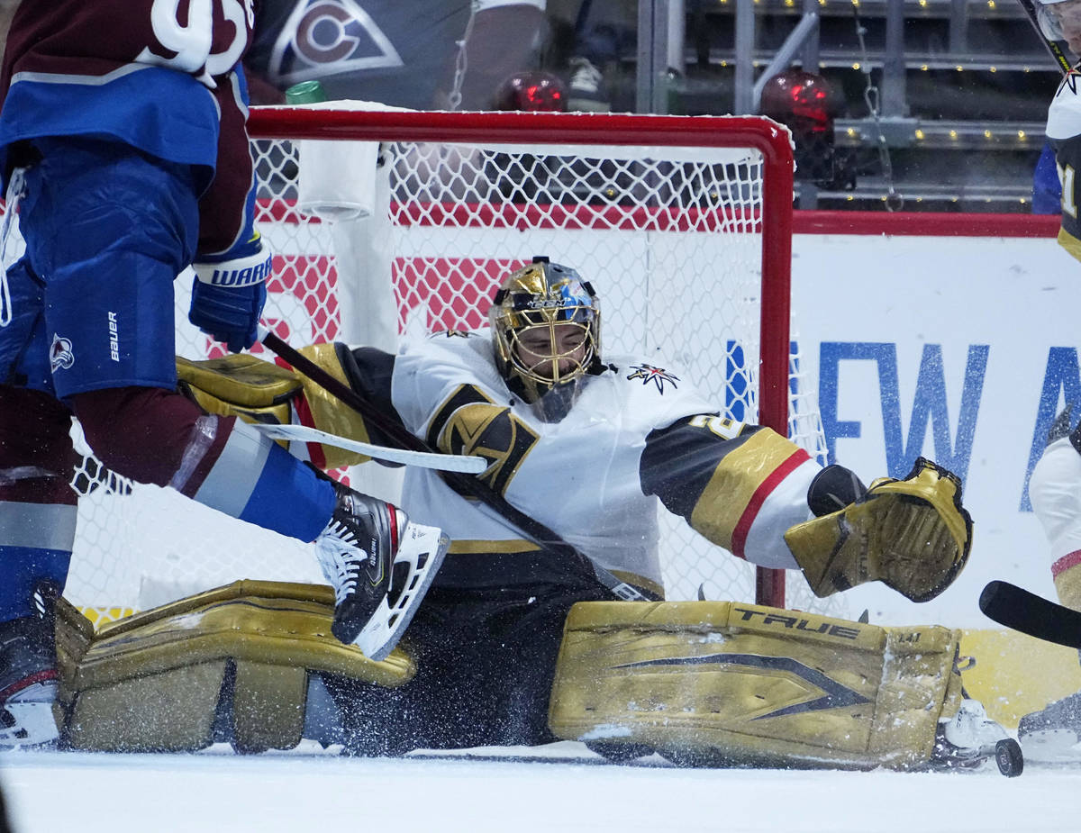 Vegas Golden Knights goaltender Marc-Andre Fleury (29) makes a save against the Colorado Avalan ...