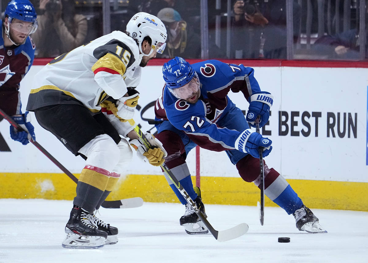Colorado Avalanche right wing Joonas Donskoi (72) moves the puck against Vegas Golden Knights r ...